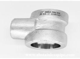 Socket welding three-way reducing tee forged